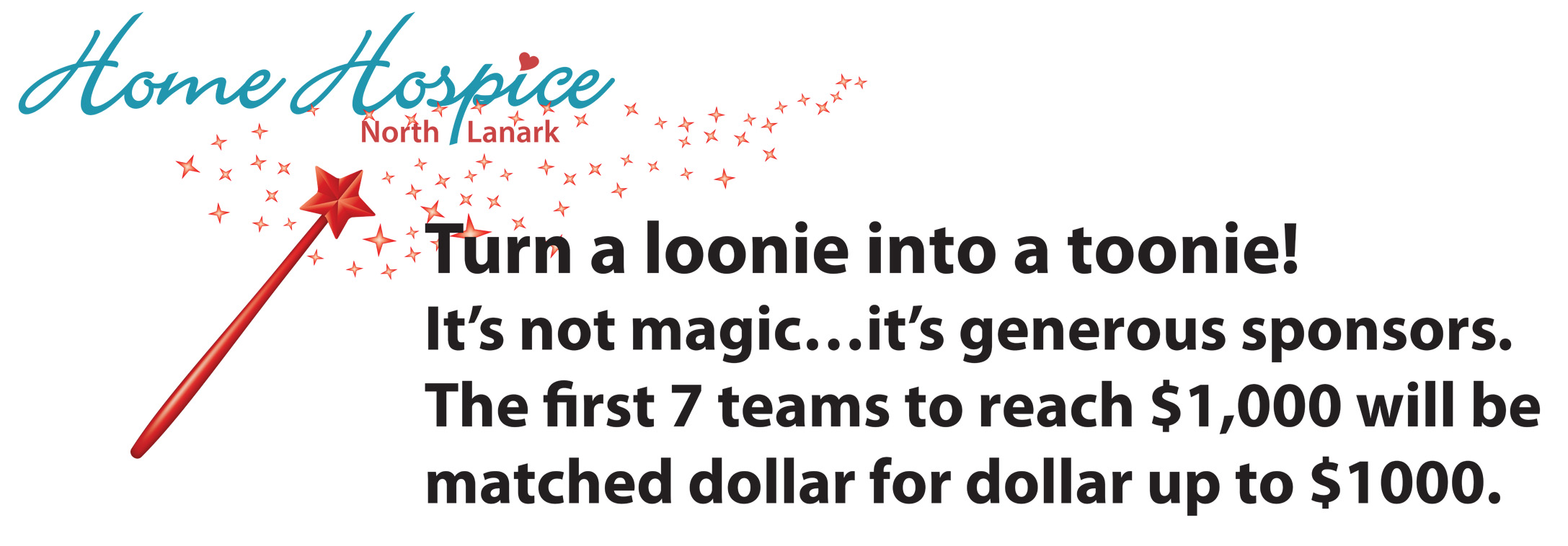 Magic wand graphic asking for donations to the Hike for Hospice